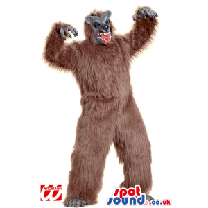 Big Hairy Brown Monster Mascot With Scary Grey Face - Custom