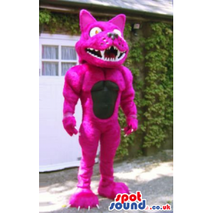 Bright Pink Furious Dog Plush Mascot With Sharp Teeth - Custom