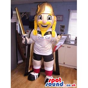 Blond Viking Mascot Wearing Soccer Garments And A Sword -