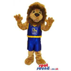 Lion Plush Mascot Wearing Basketball Sports Clothes With Logo -