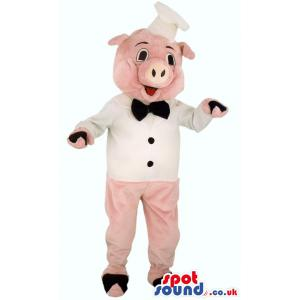 Pink piggy mascot with his white chef costume and cap - Custom