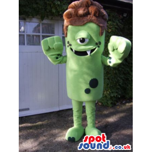 Amazing One-Eyed Green Monster Mascot With Brown Hair - Custom