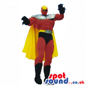 Superhero Mascot Or Disguise In Red And Black With A Yellow