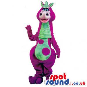 Cute Purple And Green Dinosaur Plush Mascot With Big Spots -