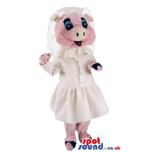 Pink piggy bride mascot with her bridal dress and vial - Custom