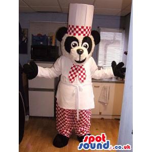 Original Panda Mascot Wearing Red And White Chef Garments -