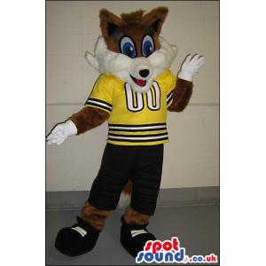 Brown And White Fox Animal Plush Mascot With Yellow Sports