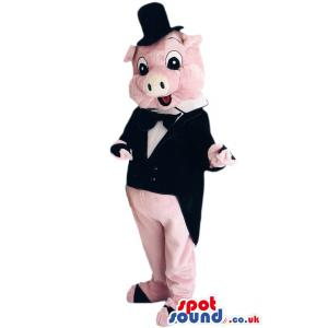 Pink piggy groom mascot with his tail coat ready for the