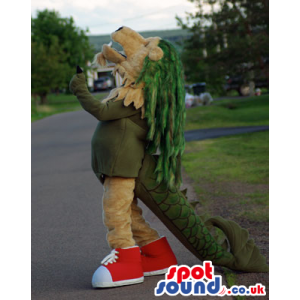 Original 2-In-1 Half Lion Half Dragon Mascot Wearing Red