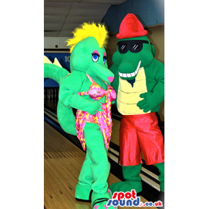 Dragon Couple Mascots Wearing Bright Summer Garments - Custom