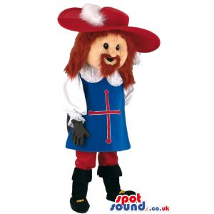 A red haired man mascot with old roman costume and a red hat -