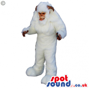 Big Scary White Monster Creature Plush Mascot With Horns -