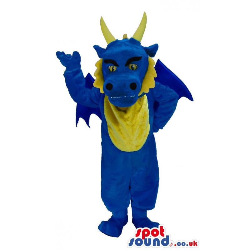 Blue and yellow friendly dragon mascot with two horns - Custom