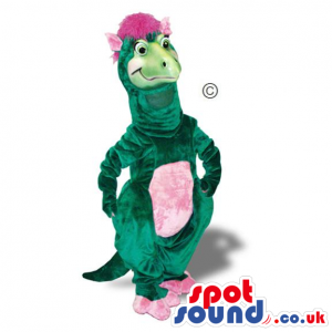 Green Girl Dinosaur Plush Mascot With A Pink Belly - Custom