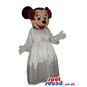 Minnie Mouse Disney Character Mascot With A White Dress -