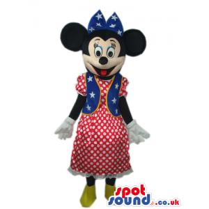 Minnie Mouse Disney Mascot With An American Flag Dress - Custom