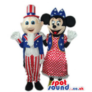 Minnie Mouse And Uncle Sam Mascots Wearing American Flag