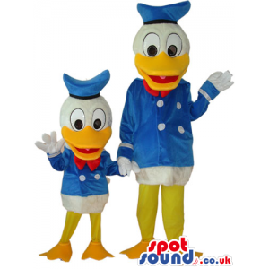 Two Different Sized Donald Duck Disney Character Mascots -