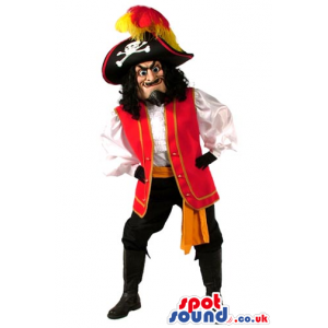 Amazing Human Pirate Mascot With Red And Black Garments -
