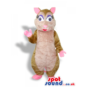 Cute Girl Brown And Pink Mouse Plush Mascot With Eyelashes -