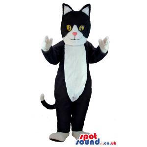 Cute black & white cat mascot with yellow eyes standing -