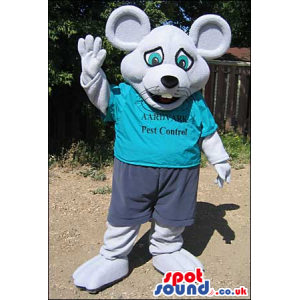 Grey Mouse Plush Mascot Wearing A Blue T-Shirt With Text -