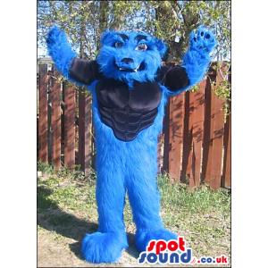 Customizable Blue Strong Hairy Monster Plush Mascot - Custom