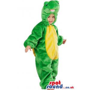 Children'S Green And Yellow Alligator Plush Costume - Custom