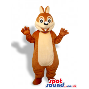 Brown And Beige Squirrel Animal Plush Mascot With Cute Face -