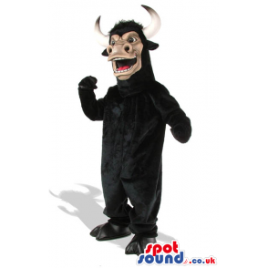 Wild Black Bull Animal Plush Mascot With Long Horns - Custom