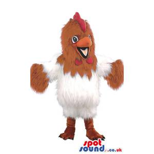 Cock mascot in a white and brown furry outfit with red beak -