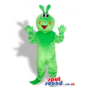 Flashy Green Creature Mascot With Red Cheeks And A Toy - Custom
