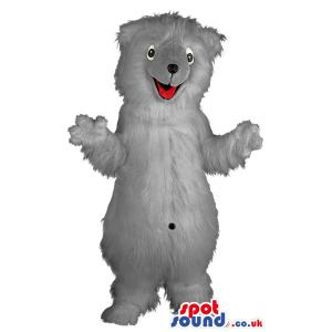 Grey cute little furry bear with his greeting smile on his face