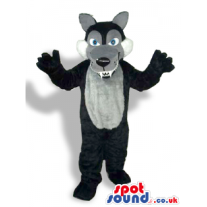 Black Wolf Plush Mascot With A Grey Belly And Sharp Teeth -