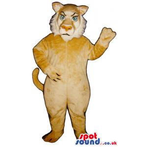 Angry Beige Lion Animal Plush Mascot With Blue Eyes - Custom