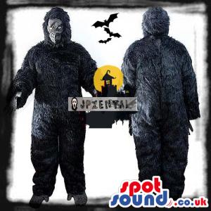 Halloween Black Hairy Gorilla Plush Mascot With Grey Face -