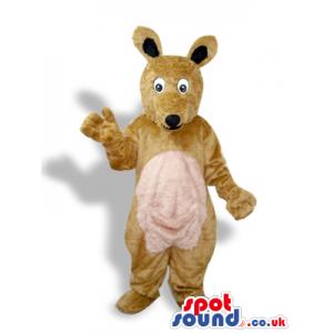 All Brown Kangaroo Plush Mascot With A Beige Pocket - Custom
