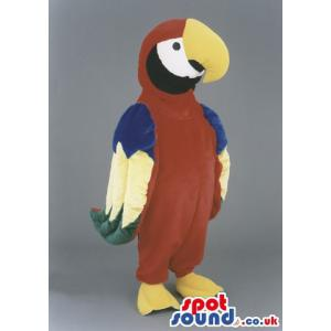Colourful parrot mascot with yellow curved beak and beautiful