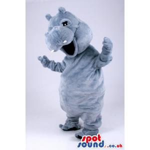Grey colour hippopotamus with a red jumper smiling - Custom