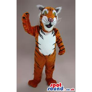 Brown and black tiger mascot with his paws showing - Custom