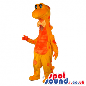Bright Orange Dragon Plush Mascot With A Red Belly And Spots -