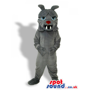 Angry Grey Creature Plush Mascot With Sharp Teeth And Red Nose