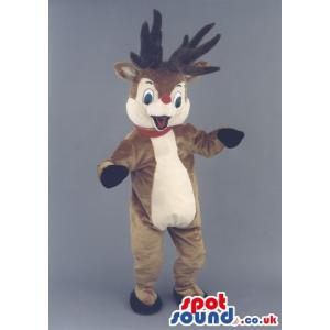 Cute happy reindeer mascot dancing this season - Custom Mascots