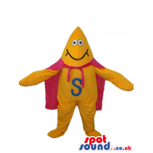 Flashy Yellow Creature Mascot With A Letter And A Pink Cape -