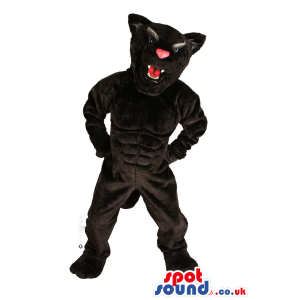 Angry All Black Panther Plush Mascot With A Pink Nose - Custom