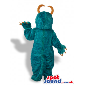 All Blue Monster Plush Mascot With Curved Big Horns - Custom
