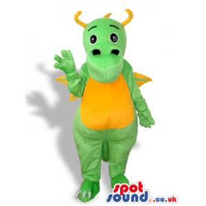 Cute Green Dragon Mascot With A Yellow Belly And Horns - Custom