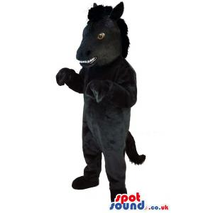 Black horse mascot looking so funny with his open mouth -
