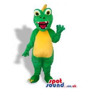 Cute Green Dragon Mascot With A Yellow Belly And Spiky Hair -