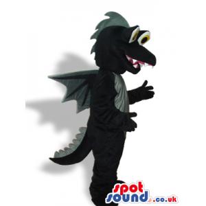 Cute Black Dragon Fantasy Plush Mascot With A Grey Belly -
